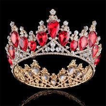 Baroque Golden Princess Crown Queen King Big Crowns Prom Diadem Wedding Tiaras and Crowns Ornament hair jewelry accessories