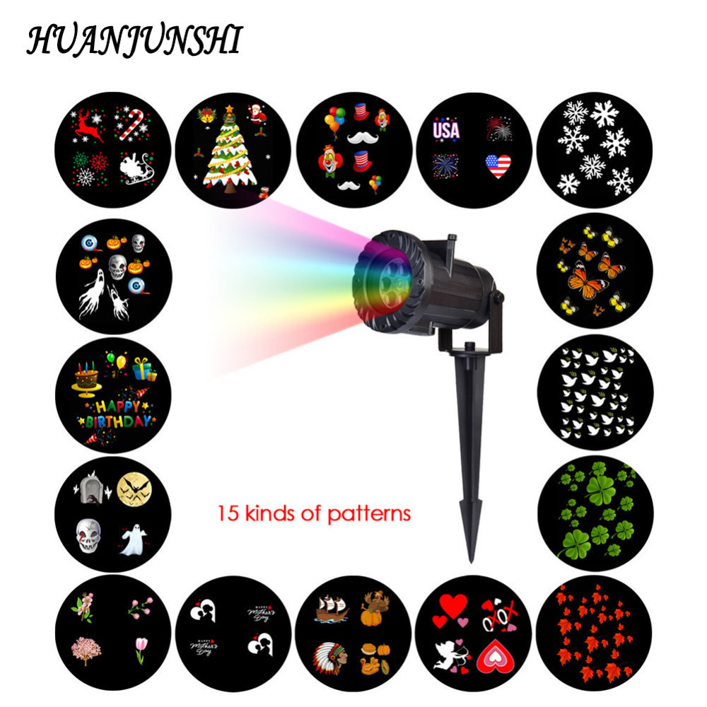 15 PCS RF Wireless Remote Control LED Projection Lamp Snowflake Star Laser Light Stage Lighting Effect for Halloween Christmas 1 pcs full range multi function detectable rf lens detector wireless camera gps spy bug rf signal gsm device finder