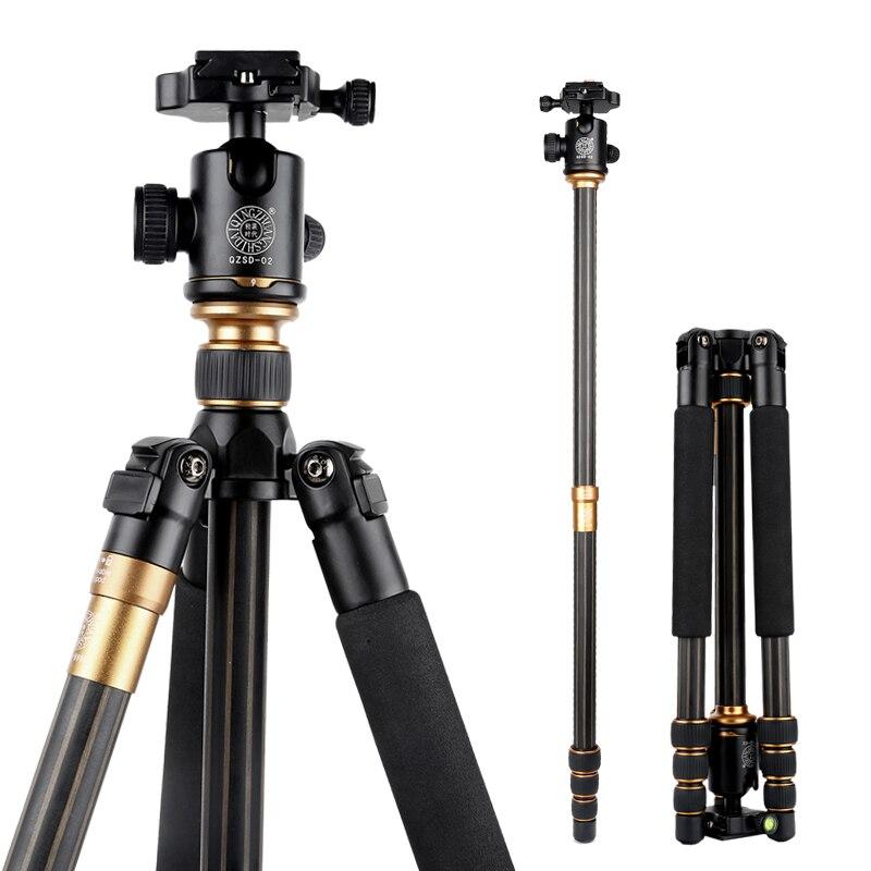 QZSD Q999C professionnel caméra trépied Kit photographique Portable en Fiber de carbone gorillapode monopode avec tête à bille pour appareil photo reflex numérique