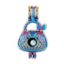 Beautiful Rainbow Women's Bag Cage Pendant Colorful Pearl Be