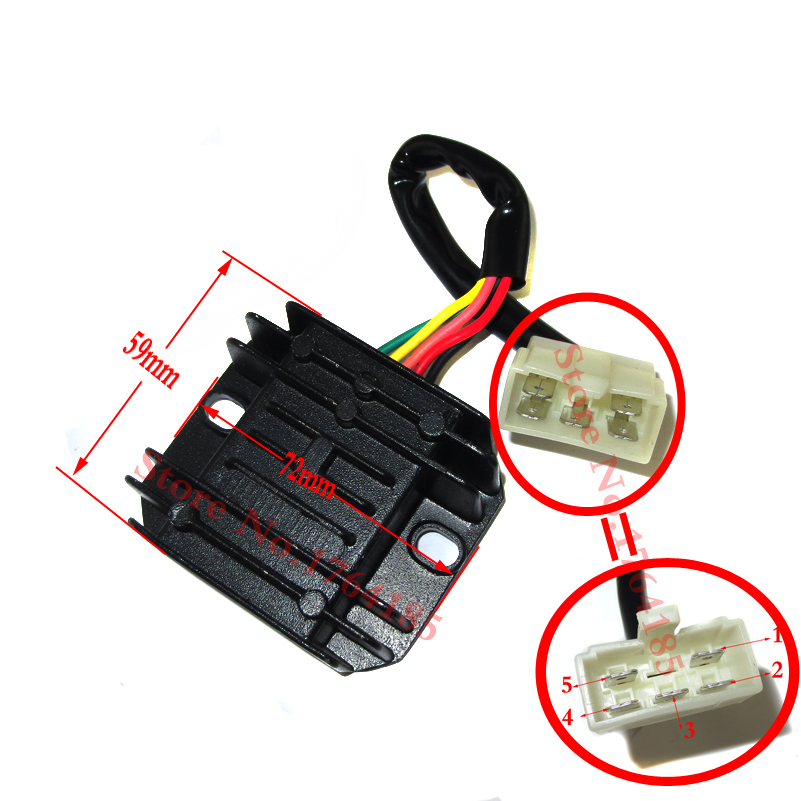 Gy6 50 150cc Scooter Voltage Regulator Rectifier 5 Wires Chinese Moped Go Kart ATV: Wire Harness Diagram 5 Wire Moped At Goccuoi.net