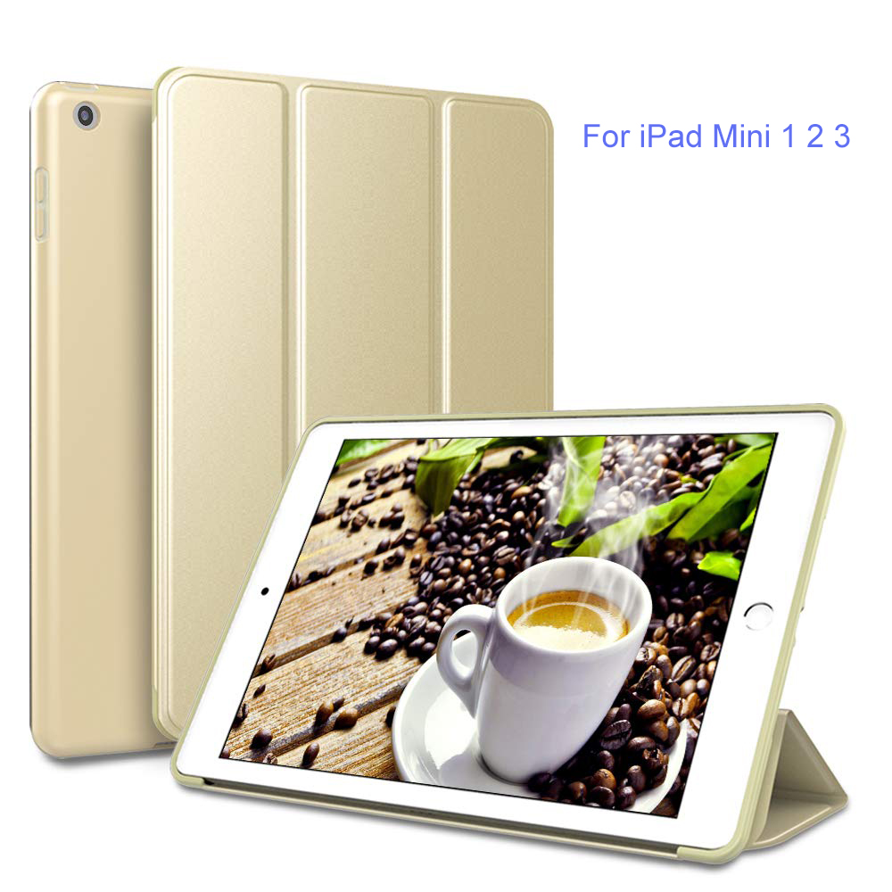 Three Folding Cover For iPad Mini 2 Case Smart Covers PU Leather 1 3 Magnetic A1432 A1454 A1455 A1489 A1601