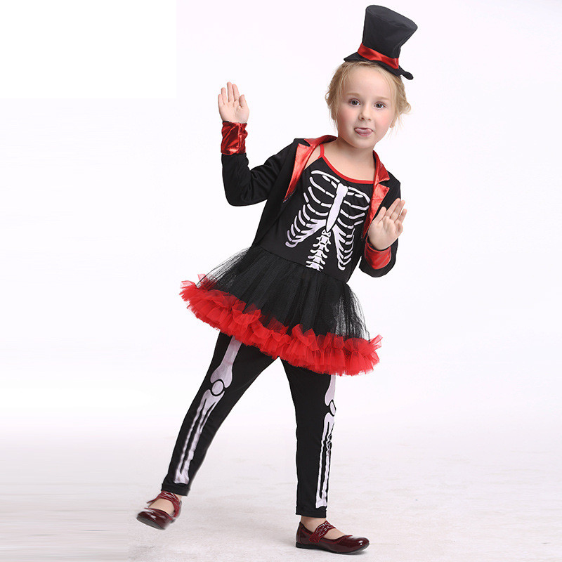 European Style Halloween Show Skeleton Dress Kids Girls Carnival Fancy Costume Baby Tutu Party Children Cosplay Vestido Cloth