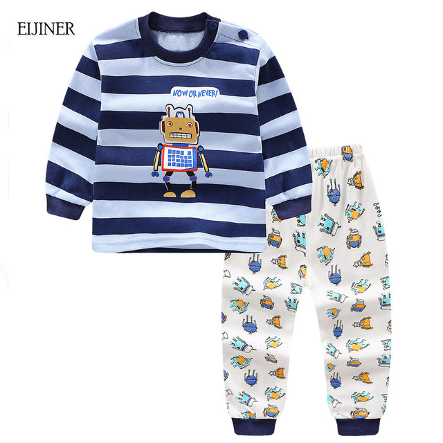 eadb5a5fcb004 US $6.69 35% OFF Cartoon Robot Baby Boys Clothes Set Autumn 2018 New Kids  Clothes Long Sleeve Baby Girls Clothing Set Cotton Children Clothes Set-in  ...
