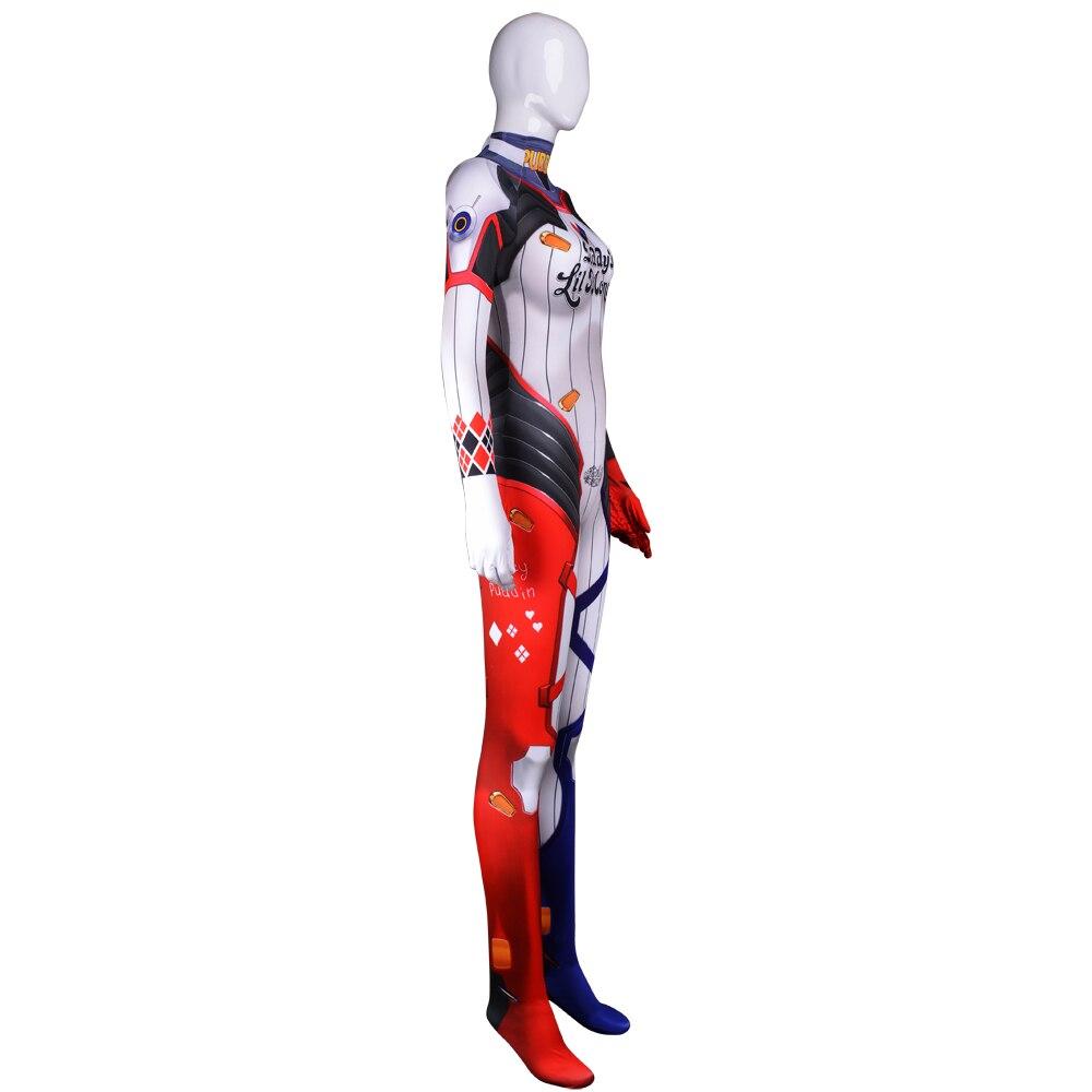 d va quinn cosplay bodysuit 3d printed harley quinn d va mixed skin