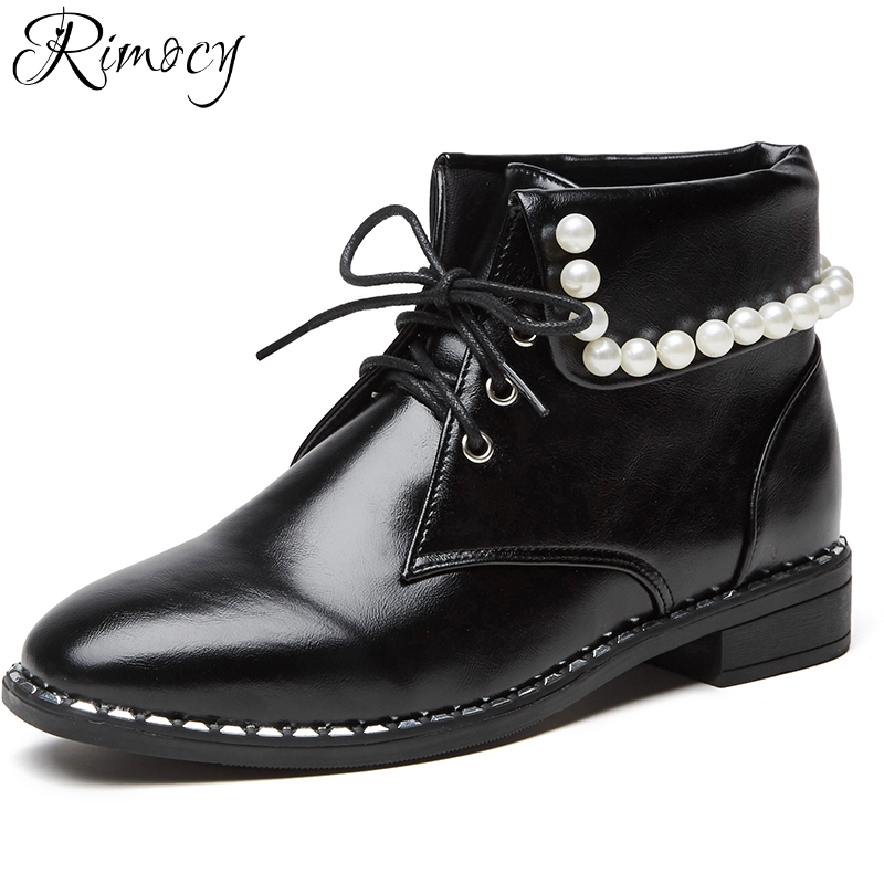 Rimocy vintage design pearls ankle boots women 2018 spring new fashion lace up low square heels short booties casual shoes woman women ankle boots 2016 round toe autumn shoes booties lace up black and white ladies short 2017 flat fashion female new chinese