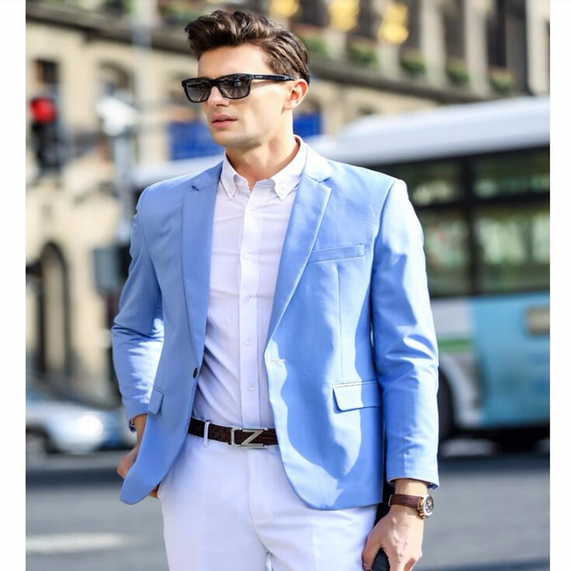 2017 Spring New Style Youny Mens Light Blue Suits For ...
