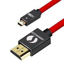 Mikro HDMI HDMI kablosu, yüksek hızlı HDTV HDMI mikro HDMI kablosu Ethernet desteği, 3D, 4K ve ses dönüşü