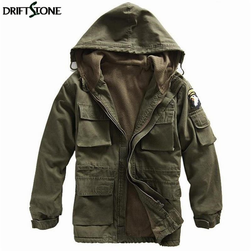Mens Winter Military Cotton Jacket US Army AIR FORCE Thermal Trench With Hood Casual Wadded Jacket Fleece Lining Military Coat
