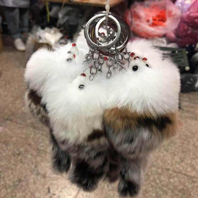 Macio bonito Crown Bow-knot Chave Anéis Da Cadeia de Bola Pompom Raposa Artificial Pele De Raposa Charme Chaveiro Saco Chave Do Carro anel Mulheres Jóias