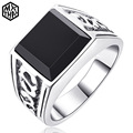Vintage Brief Design Natural Black Onyx Men ring agate fashion male S925 pure sterling  silver men rings retro square aneis