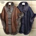 Luxury Winter Double-faced Fur Real Lamb Fur Coat Women Natural Merino Wool Long Cape Cloak Poncho Shawl Plus Size161011-1
