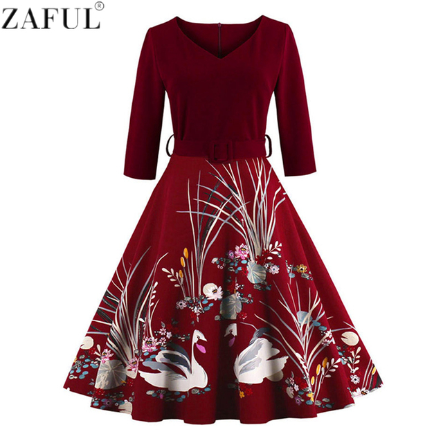 ZAFUL Elegant Swan Print 50s Vintage Dresses Women High Waist Belts Zipper Swing V Neck Party Dresses Retro Feminino Vestidos