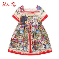 Children Bohemian Pattern Print Clothing Kids Girls Baby O Neck Short Sleeve Summer Ruched Dress Toddler