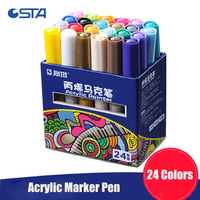STA 2 3MM 12 24 Colors Acrylic Markers Multifunction Candy Color Highlighter Waterproof Paint Sketch Art