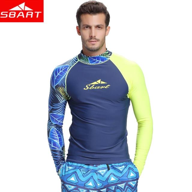 13fdaf15b810 € 12.36 35% de DESCUENTO|SBART Camiseta de manga larga para hombre,  camiseta para hombre, traje de baño, Tops UV para natación, RashGuard en  Bodis ...