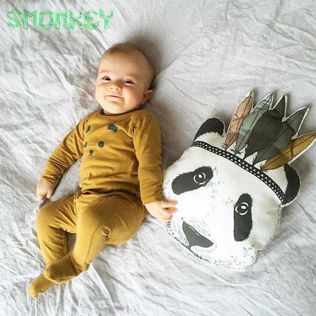 Moda Bebê Brinquedos de Pelúcia cashiion almofada Travesseiro Cama de Quarto De Crianças sofá Decorativo Indiano boneca Panda forma animal para carro Crianças presente