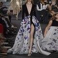 Runway Style European Design 2017 Top Fashion Women Sexy V-neck Maxi Long Velvet Patchwork Casual Dress HIGH QUALITY