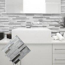 Белая серая мраморная мозаика, самоклеющаяся настенная плитка, сделай сам, для кухни, ванной, дома, наклейка на стену, виниловая 3D