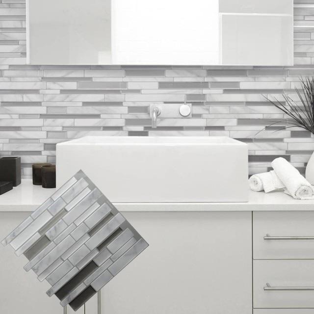 Blanc Gris Marbre Mosaïque Peel And Stick Mur Carrelage Auto Adhésif  Dosseret Bricolage Cuisine Salle