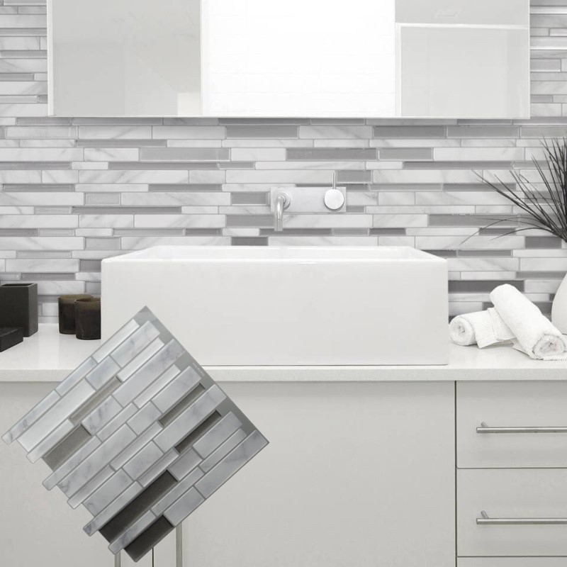 White Grey Marble Mosaic Peel And Stick Wall Tile Self