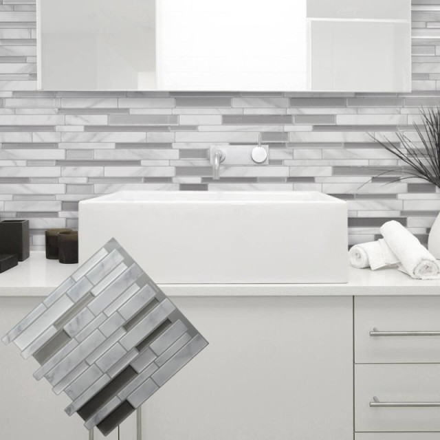 White Grey Marble Mosaic L And Stick Wall Tile Self Adhesive Backsplash Diy Kitchen Bathroom Home