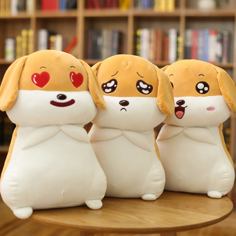 1pc 50cm Cute Emoji Dog Plush Toy Stuffed Cartoon Animal Puppy Dog Pillow Kids Baby Doll Lovely Birthday Christmas Gift for Girl 45cm cute dog plush toy stuffed cute husky dog toy kids doll kawaii animal gift home decoration creative children birthday gift