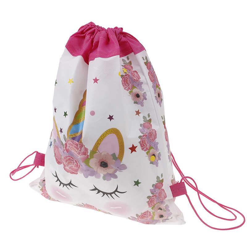 Единорог мультфильм школьные рюкзаки Детские сувениры для вечеринки ко дню рождения Drawstring сумка для обувь девочек Путешествия хранения посылка