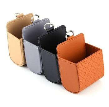 Fashion Car Seat Back Storage Bag Leather Solid Color Tidy Case Hanging Bags For Mobile Phone Glasses Cards Foods image