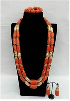 Original Coral African Beads Jewelry Set Coral and Gold Dubai Women Costume Statement Jewelry Set Coral Party Jewelry ABH881