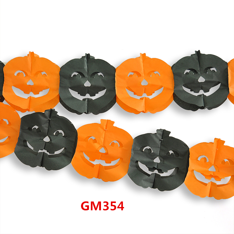 aliexpresscom buy 5 styles halloween decorations pumpkin skeletons bats paper garland hot decoration for halloween propsgm355 from reliable decorating