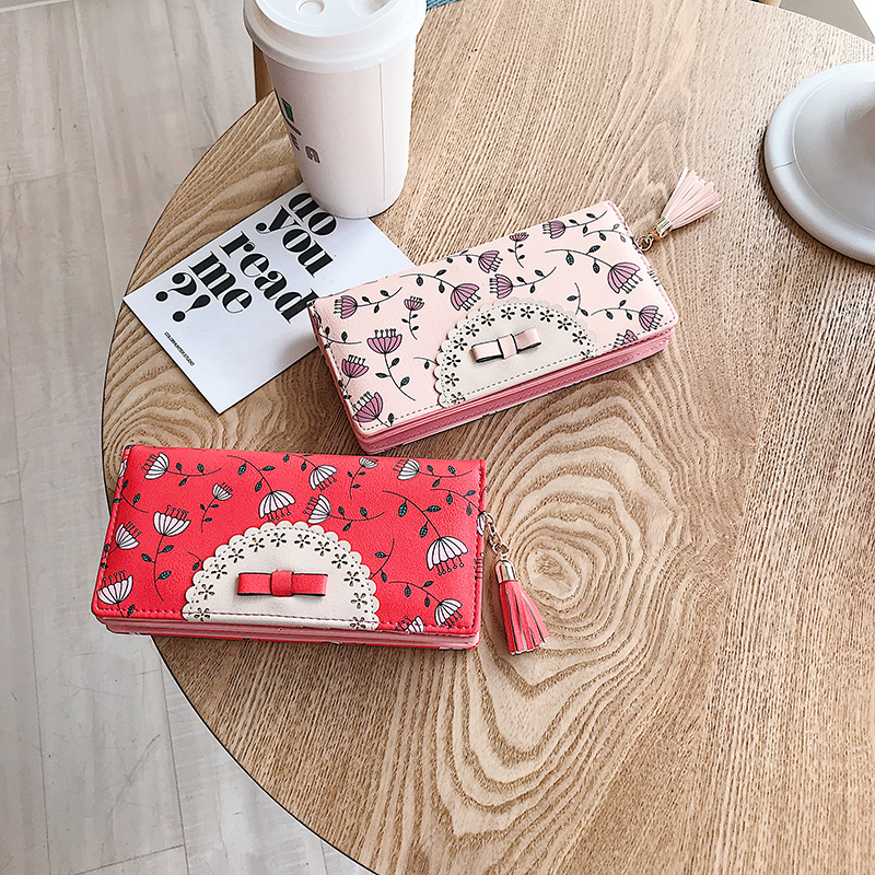 Fashion Women Wallets Hollow Out Leather Coin Purse Lovely Tassel Long Wallet Business Card Holder Purses cellphone bag pocket in Wallets from Luggage Bags