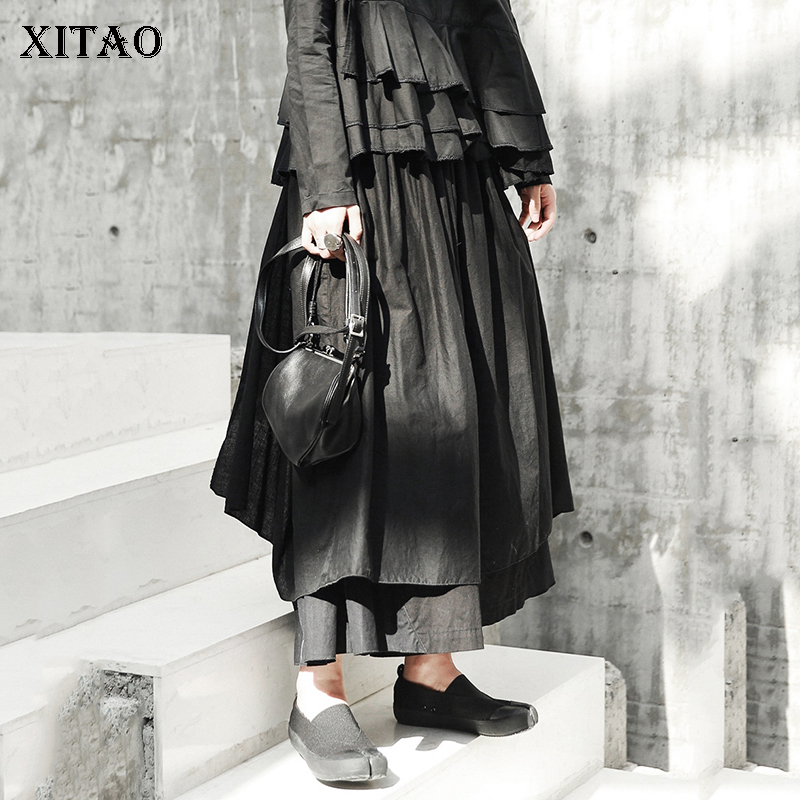 [XITAO] Asymmetrical Women 2019 Autumn Korea Fashion Loose Plreted   Wide     Leg     Pants   Female Solid Color Ankle-length   Pants   GWY2378