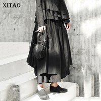 [XITAO] Asymmetrical Women 2019 Autumn Korea Fashion Loose Plreted Wide Leg Pants Female Solid Color Ankle length Pants GWY2378
