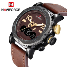 Watches Men Top Luxury Brand NAVIFORCE Waterproof Digital Quartz Clock Male Fashion Leather Sport Wrist Watch