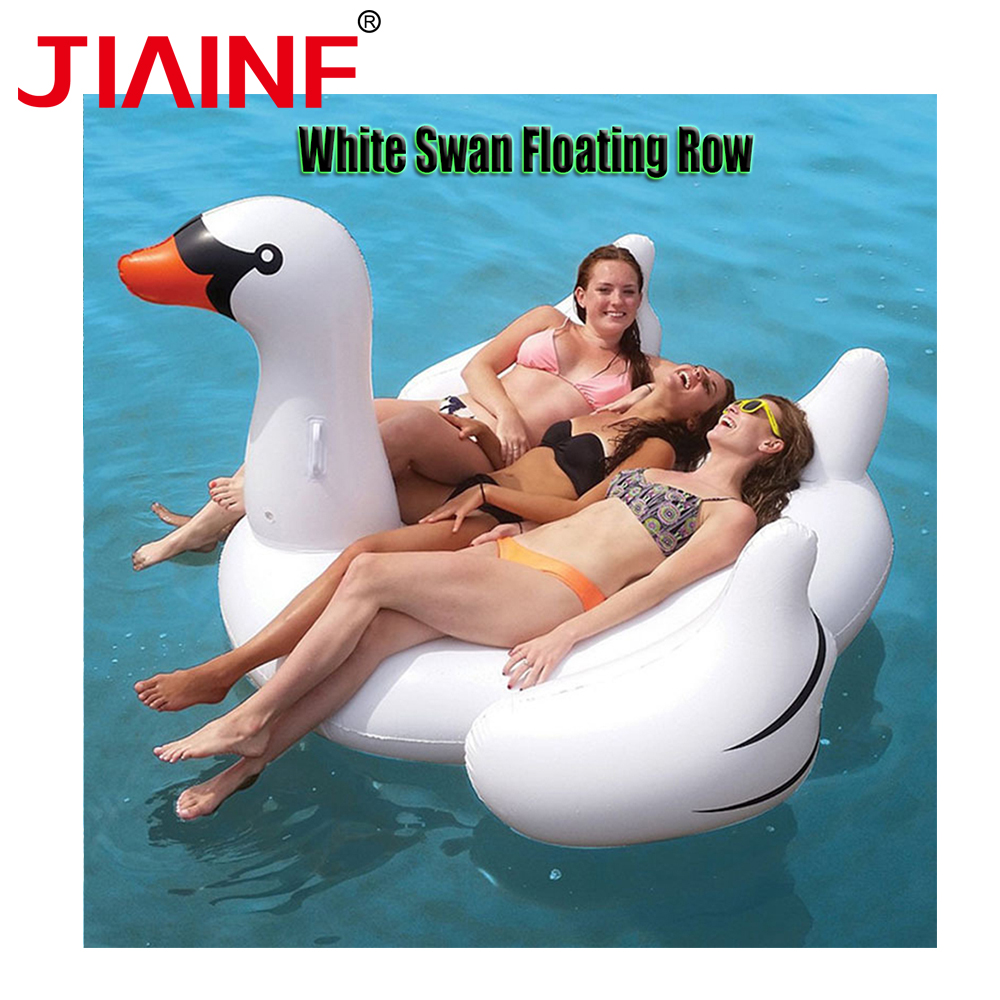 JIAINF Hot Selling Giant Inflatable Riding White Swan Water Pool Floats Pool Party Toy Swimming Air Mattress Bed Summer Floats