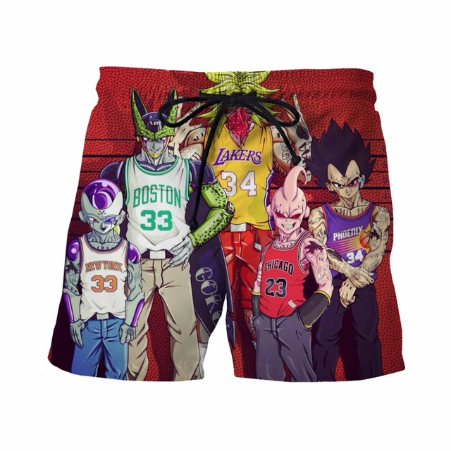 New Arrive Summer Male Shorts Team For Dragon Ball Z 3D Short Pants Mens Casual Beach Shorts Board Shorts