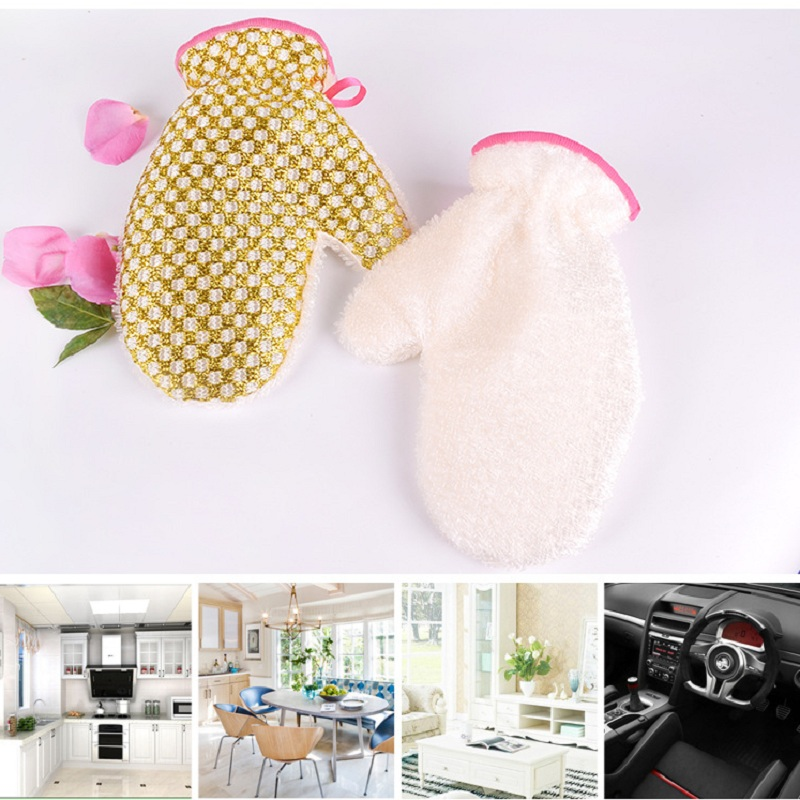 Kitchen cleaning accessories, no oil, wash gloves, double-sided wash, decontamination, waterproof gloves