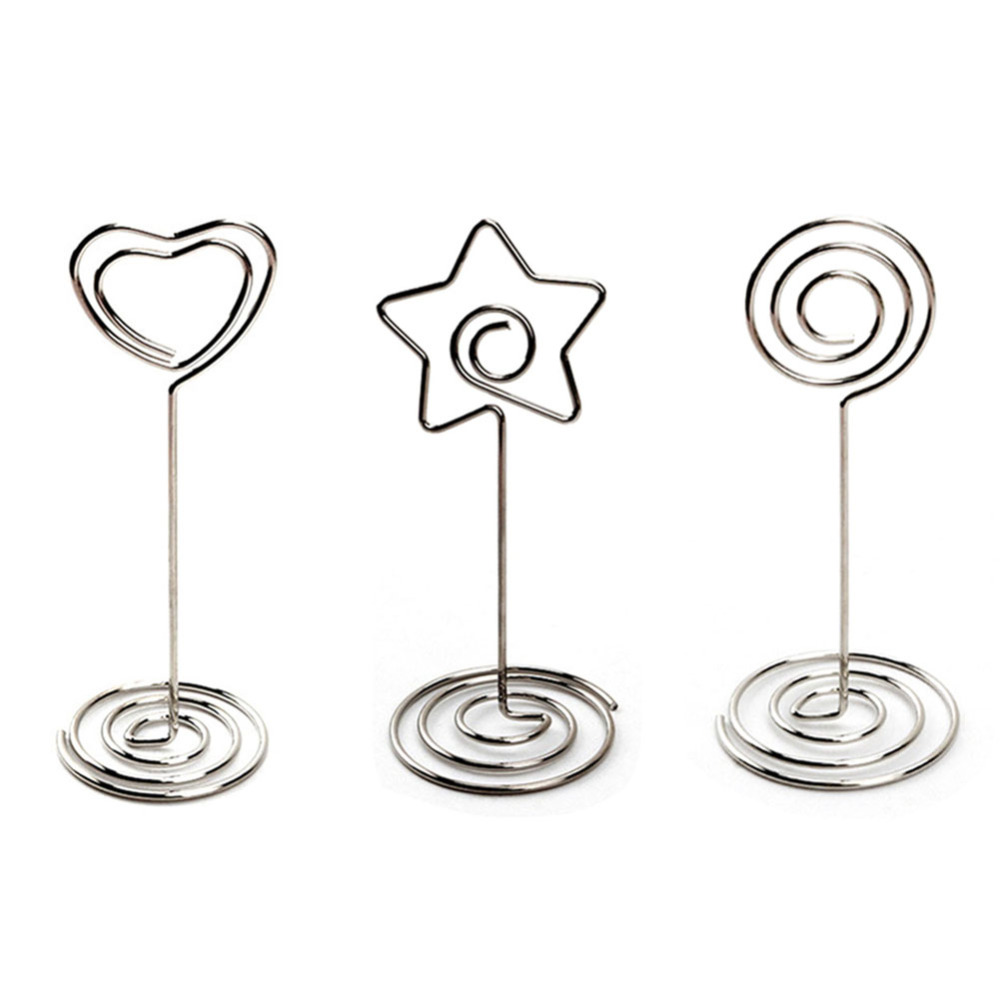 20pcs Heart Shape Table Number Holder Stands Tall Place Card Holders Birthday Party Picture Photo Note Memo Clip for Wedding image
