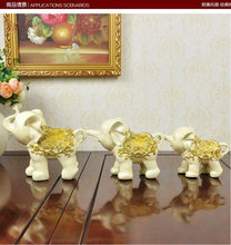 2 Color Household 3PCs Elephant Family (Parents And Child) Resin Home Decorating Cinnabar Ornaments Office Decoration Tableware