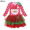 AGKupel 2016 Muchachas Rojas de la Navidad Vestido de Navidad Hombre de la Nieve de Invierno de Punto Vestidos Para Niños ropa Para niños Ropa de Navidad Fiesta de Disfraces