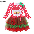 AGKupel 2016 Red Christmas Girls Dress Snow Man Xmas Winter Dot Dresses Kids Clothes Children's Christmas Clothing Party Costume
