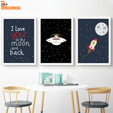 Rocket Moon UFO Explore Quote Wall Art Canvas Painting Nordic Posters And Prints Cartoon Wall Pictures Baby Kids Room Home Decor black white cartoon rocket quote wall art print canvas painting nordic canvas poster and prints wall pictures kids room decor