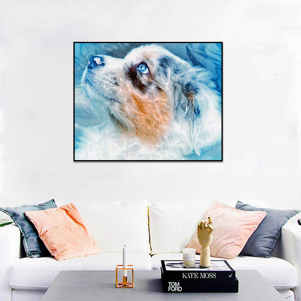 Unframed Canvas Prints Art Painting Animal Cute Puppy On White Dog Prints Wall Pictures For Living Room Wall Art Decoration