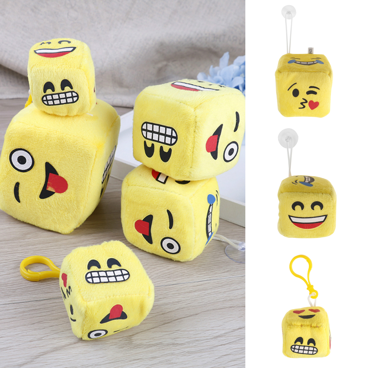 Yellow Face On Dice , Kawaii Kid's Mini 4/6/8CM Plush Stuffed TOY Plush Toy Doll Kid's Party Gift Toy
