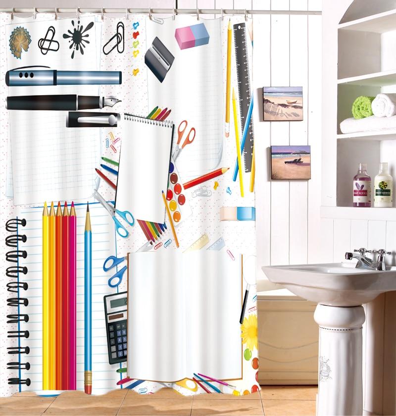 3D European Pencil font b knife b font Office Supplies Shower Curtain Custom Waterproof Washable Moisture