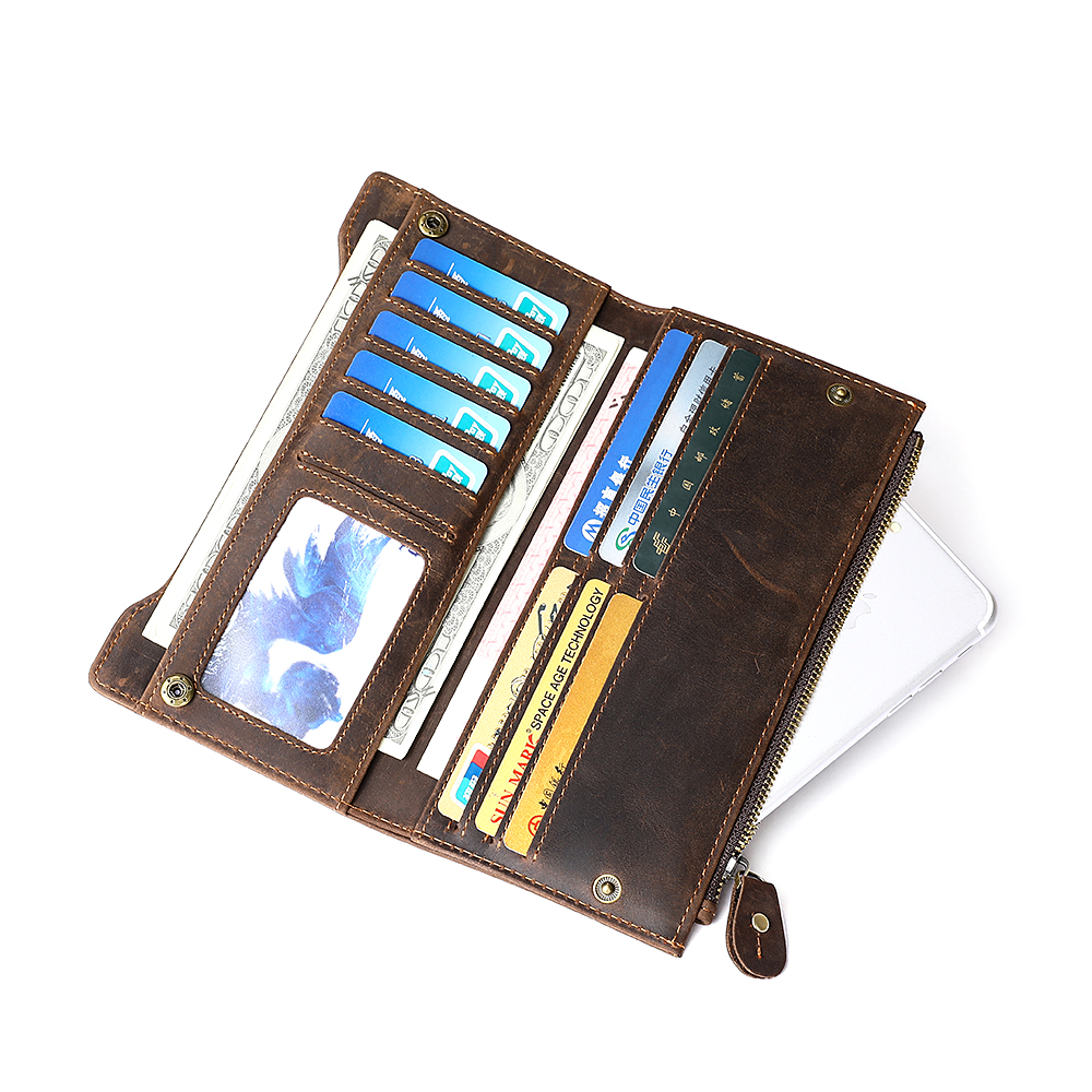Guaranteed 10 Genuine Crazy Horse Leather Multi Card Bit Men Wallets 2018 New Brand Male Purses Vintage Businessman Card Wallet in Wallets from Luggage Bags