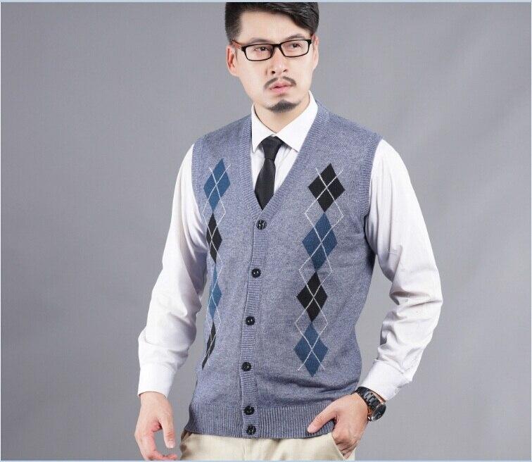 2016 Neueste Stil Herbst Casual V-ausschnitt Herren Diamant Plaid Muster Cashmere Sleeveless Pullover Strickjacke