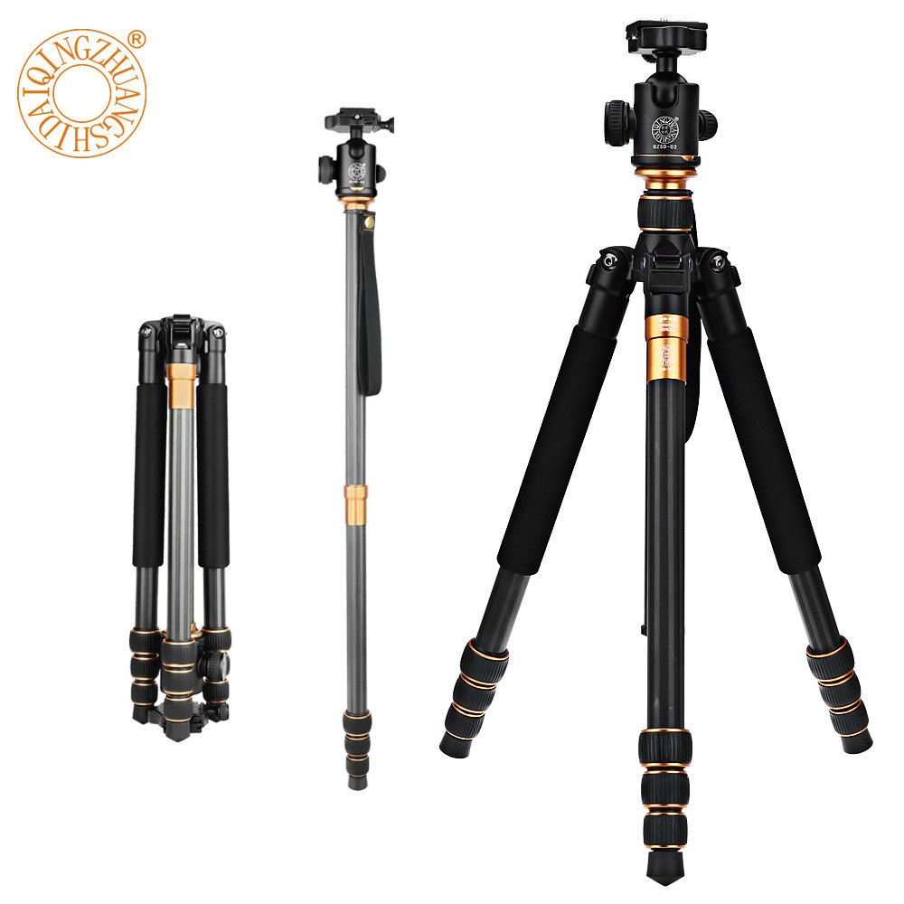 Professional Extendable QZSD Q999C 62.2 Inches Carbon Fiber Camera Video Tripod Monopod with Quick Release Plate