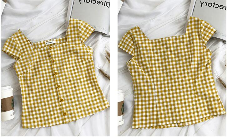 Chic Fashion Two-piece Casual Suits Female Summer 2018 Women Yellow Red Plaid T Shirt A Line Skirt Sets Retro Midi Skirt Suits 17